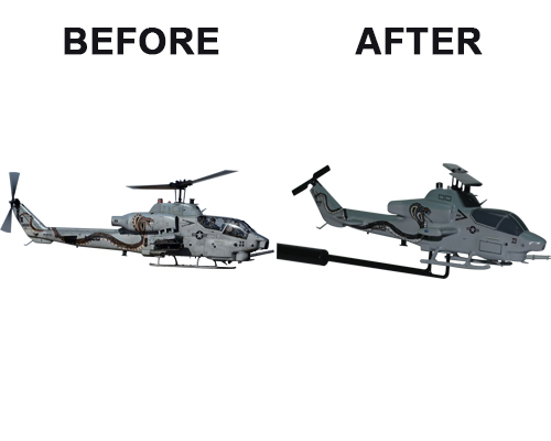Aviator Gear AH-1W Custom Briefing Stick Before/After Image