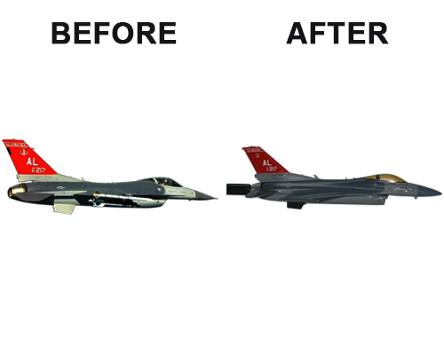 Aviator Gear F-16 Custom Briefing Stick Before/After Image