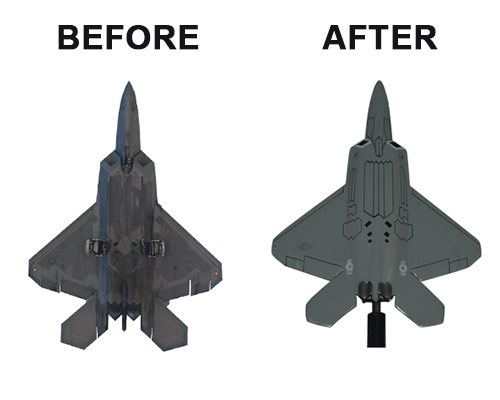 Aviator Gear F-22 Raptor Custom Briefing Stick Before/After Image