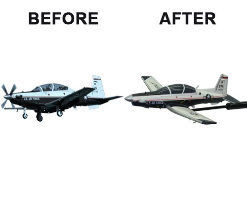 Aviator Gear T-6A Texan II Custom Briefing Stick Before/After Image