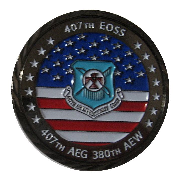 407 EOSS AEG 380 AEW Black Nickel Challenge Coin