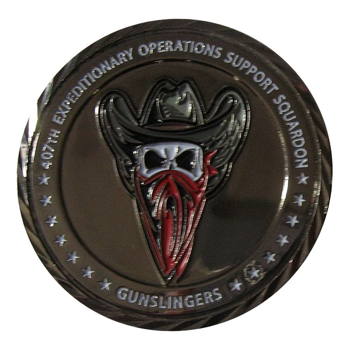 407 EOSS Gunslingers Black Nickel Challenge Coin