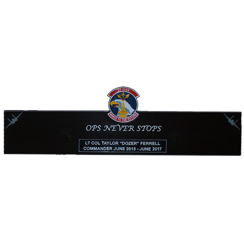 57 OSS Ops Never Stops Gun Barrel Plaque