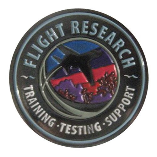 Flight Research Inc Blue challenge coin  - View 2